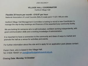 Job Vacancy at the Village Hall