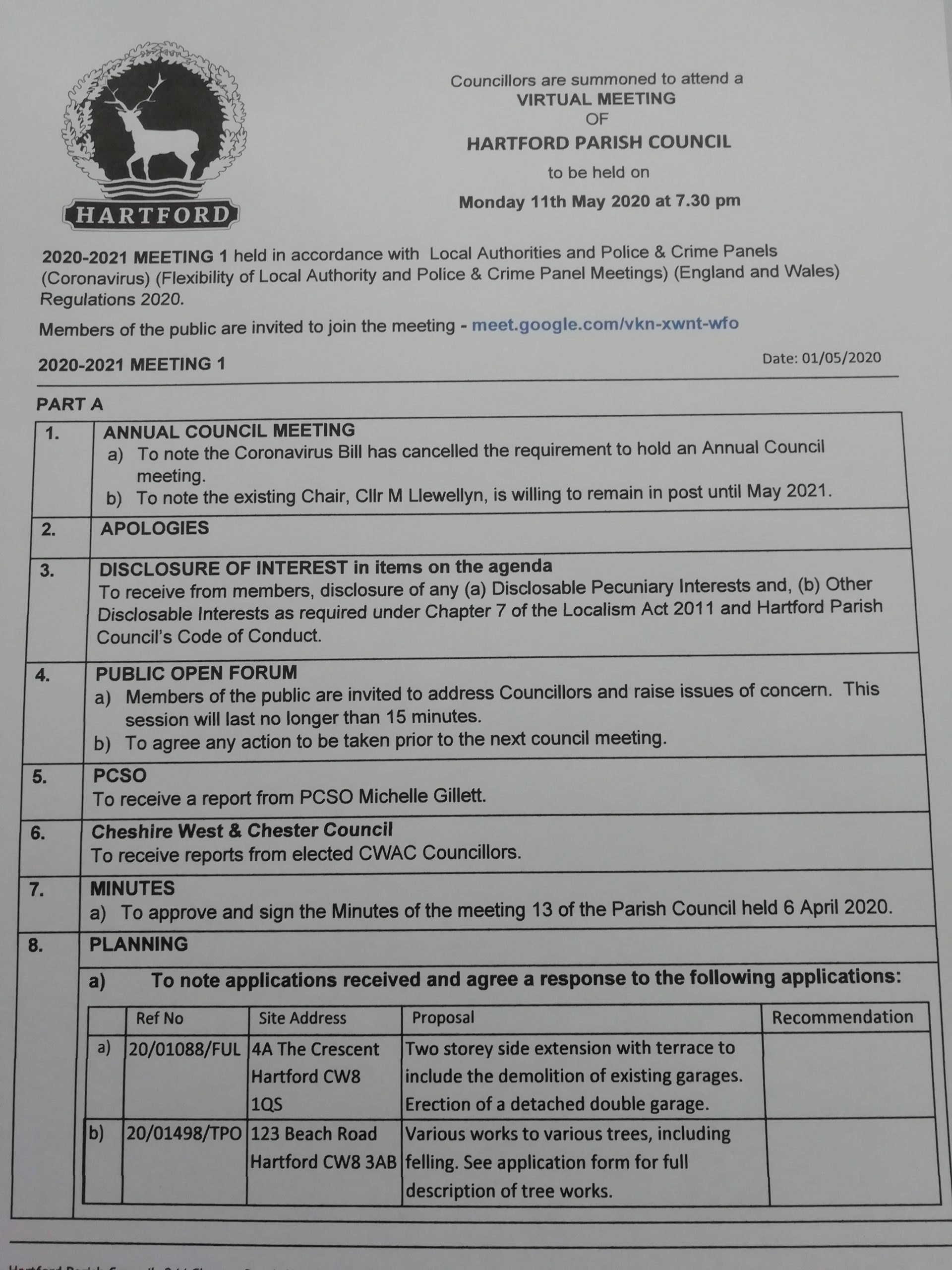 Council Meeting – 11 May 2020 7.30pm Public Participation