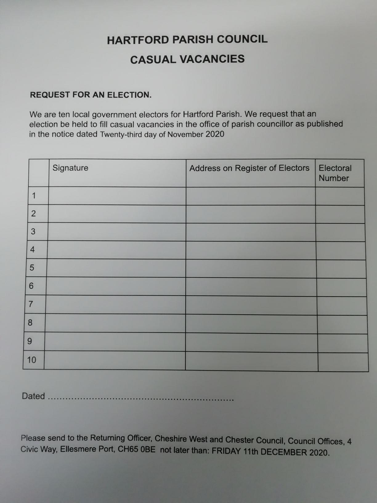 Hartford Parish Council – Councillor Vacancy