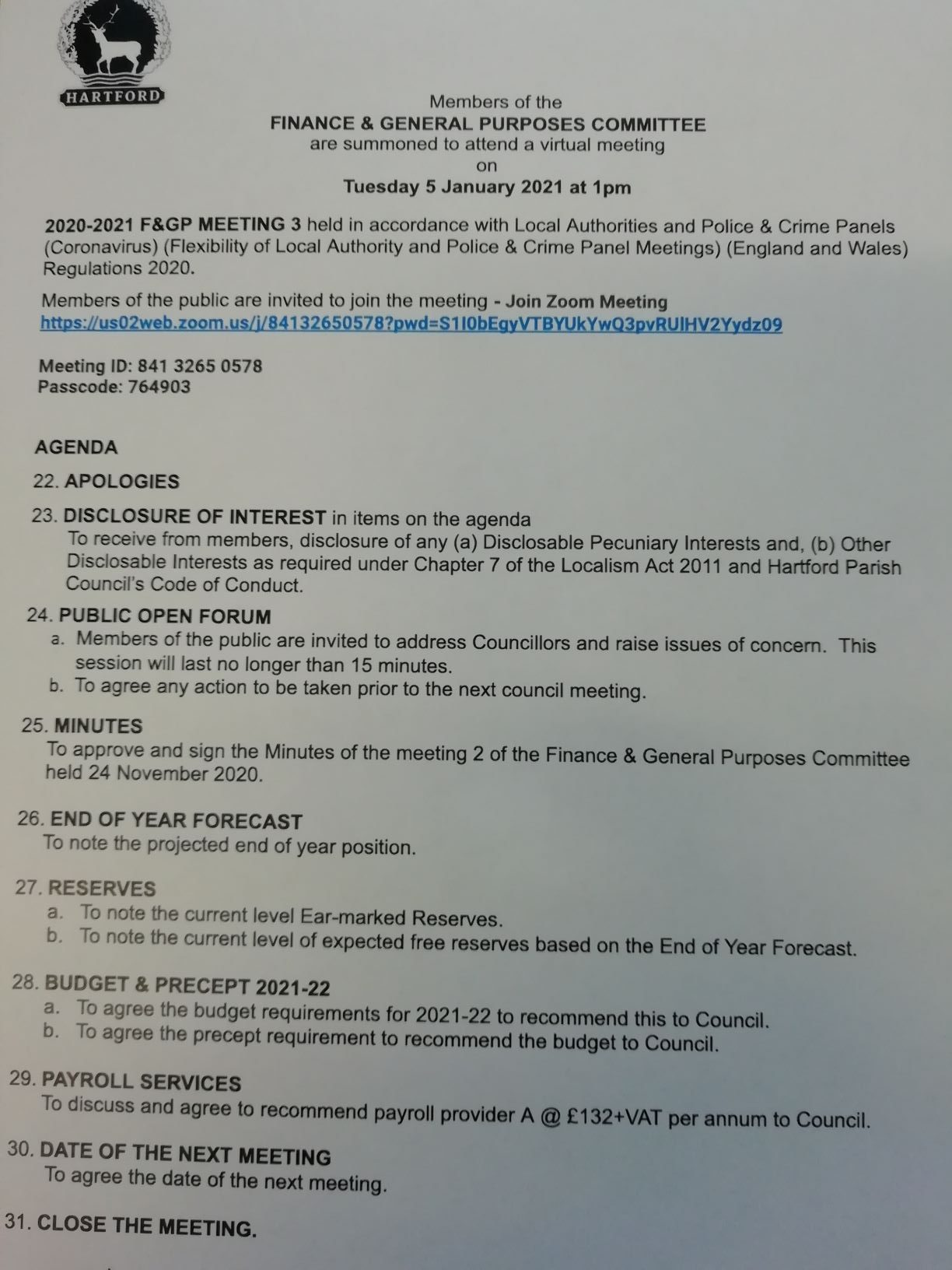 Finance & General Purposes Meeting – 5 January 2021 1pm Public Participation