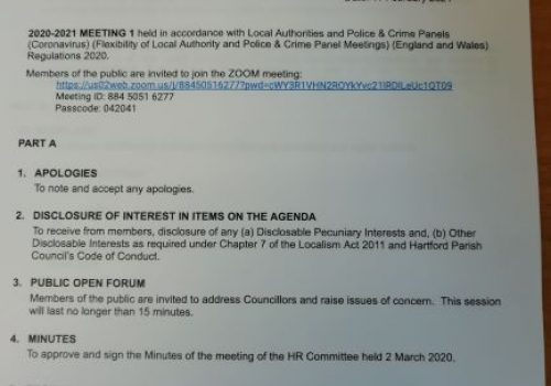 HR COMMITTEE Meeting – 16 February 2021 1pm Public Participation