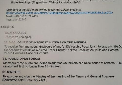 Finance & General Purposes Meeting – 20 April 2021 1pm Public Participation