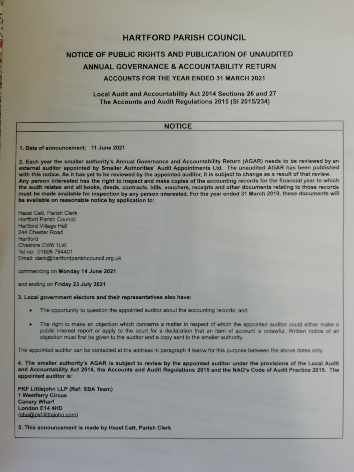 Notice of Public Rights