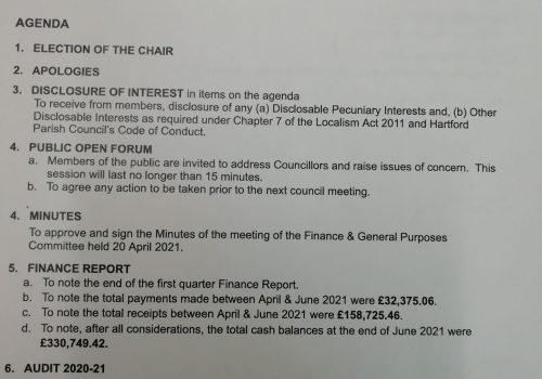 Finance & General Purposes Committee Meeting – 7 July 2021