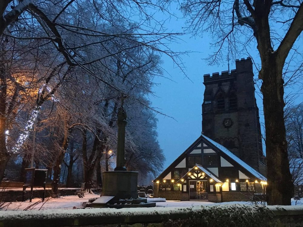 Church on the green winter